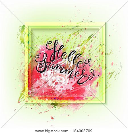 Tropical flowers, leaves, buds and petals on white wood. Floral seasonal background with lettering. Vector illustration of EPS10