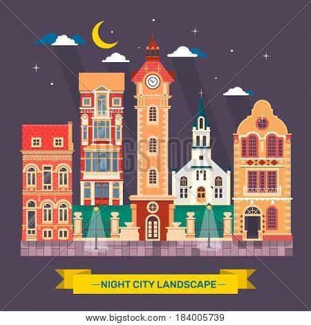 Urban city night landscape Town skyline Flat vector illustration