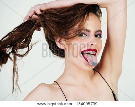 Beautiful Woman Or Girl With Fashionable Makeup For Glamour Party