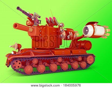 Cute mega tank. Science fiction military equipment. 3D illustration.