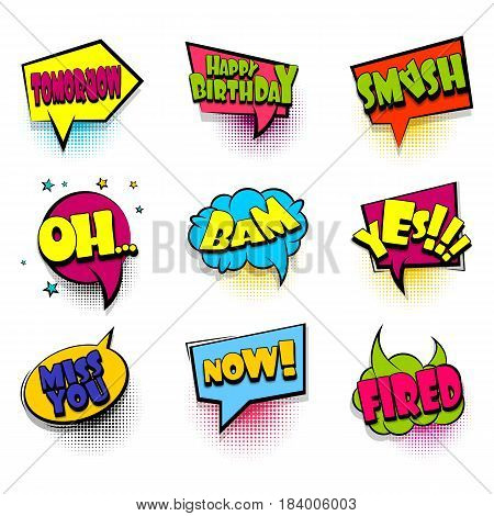 Oh, bam, fired big set comic font bubble effects template. Speech chat bubbles halftone dot background pop art. Dialog cloud text style pop art. Creative idea speech balloon conversation comic book