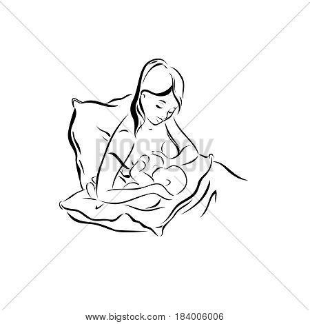 A young mother is suckling her toddler sketch a pose for breastfeeding logo an imitation of maternity and health