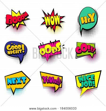 Boom, wow, hey big set comic font bubble effects template. Speech chat bubbles halftone dot background pop art. Dialog cloud text style pop art. Creative idea speech balloon conversation comic book