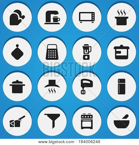 Set Of 16 Editable Cooking Icons. Includes Symbols Such As Bakery, Cookware, Soup Pot And More. Can Be Used For Web, Mobile, UI And Infographic Design.