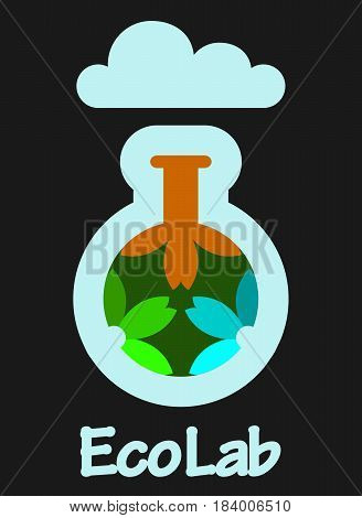 Eco Lab icon logo. Organic Laboratory. Ecology vector. Chemicals, nature, natural logo, science icon,technology logo, Eco with flowers. laboratory glassware and flowers.