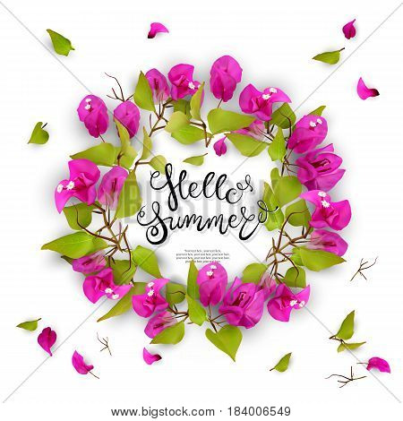 Tropical flowers, leaves, buds and petals. Floral seasonal background with lettering. Isolated on white background. Vector illustration of EPS10