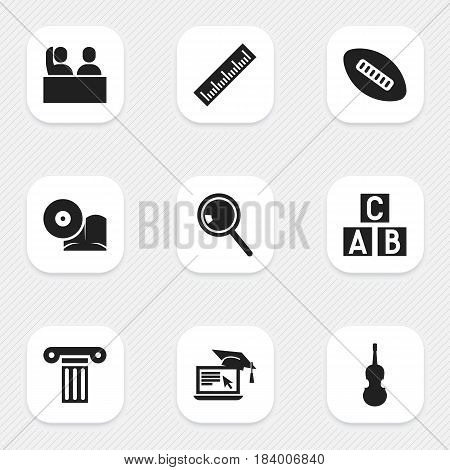Set Of 9 Editable Graduation Icons. Includes Symbols Such As Alphabet Cube, Distance Learning, Student And More. Can Be Used For Web, Mobile, UI And Infographic Design.