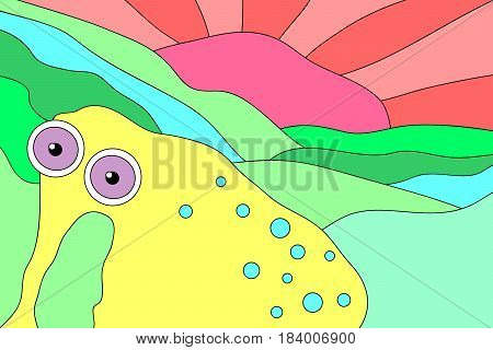 Cartoon elephant illustration with psychedelic animal enjoying sunset. Trippy doodle colorful elephant illustration. Cheerful elephant illustration for prints, posters, t-shirts, covers, flyers and cards.