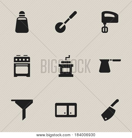 Set Of 9 Editable Food Icons. Includes Symbols Such As Paprika, Stove, Agitator And More. Can Be Used For Web, Mobile, UI And Infographic Design.