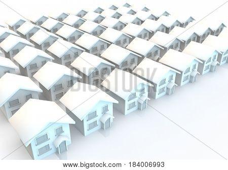 3d render of modern houses in rows