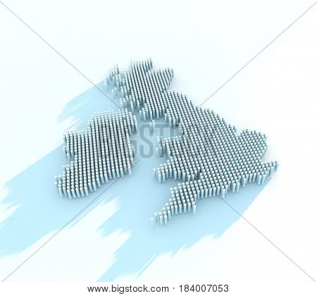 3d render using dots and shadows of great britain,
