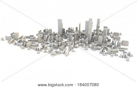 looking down onto a 3d rendered generic city