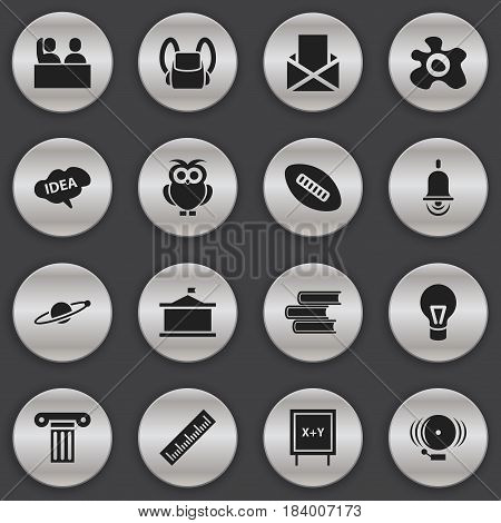 Set Of 16 Editable University Icons. Includes Symbols Such As Ring, Student, Oval Ball And More. Can Be Used For Web, Mobile, UI And Infographic Design.