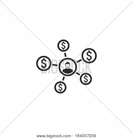 Personal Income Icon. Business Concept. Flat Design. Isolated Illustration