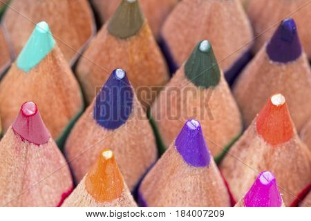Close Up Image Of Color Pencils
