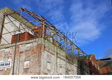 Derelict warehouse in Gloucester Docks in  England