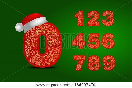 Lettering numeral 0-9. christmas numbers in santa hat and snowflakes. New year font