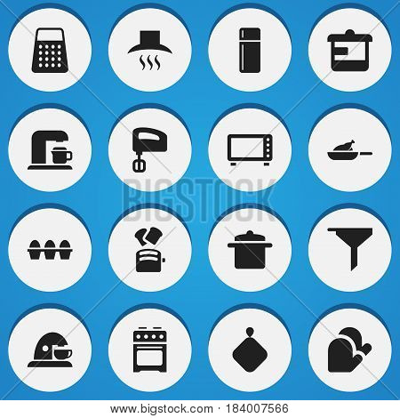 Set Of 16 Editable Meal Icons. Includes Symbols Such As Cookware, Oven, Shredder And More. Can Be Used For Web, Mobile, UI And Infographic Design.