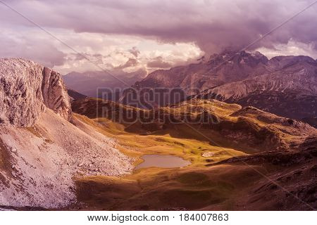 Scenic view of Italian Dolomites on sunny autumn day