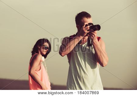 Nature Photographer And Cute Girl
