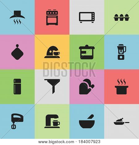 Set Of 16 Editable Meal Icons. Includes Symbols Such As Utensil, Pot-Holder, Drink Maker And More. Can Be Used For Web, Mobile, UI And Infographic Design.