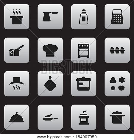 Set Of 16 Editable Cooking Icons. Includes Symbols Such As Coffee Pot, Grill, Mocha Grinder And More. Can Be Used For Web, Mobile, UI And Infographic Design.