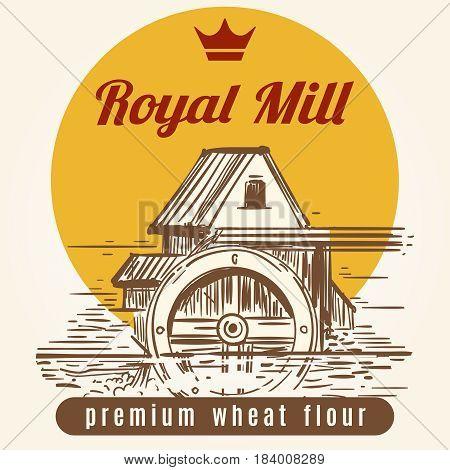 Royal mill banner design. Vector hand drawn agrocultural or harvest background