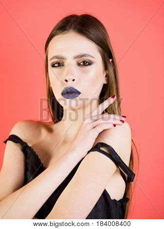 Girl With Beautiful Hairstyle Has Black Makeup