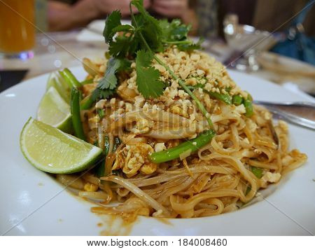 Padthai dish Pad Thai is a stir-fried rice noodle dish that is a favorite in Thailand and other Southeast Asian countries.