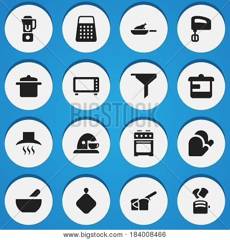 Set Of 16 Editable Cook Icons. Includes Symbols Such As Filtering, Pot-Holder, Hand Mixer. Can Be Used For Web, Mobile, UI And Infographic Design.