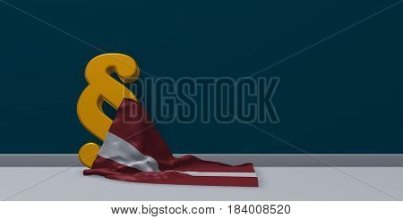paragraph symbol and flag of latvia - 3d rendering