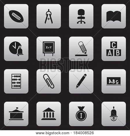 Set Of 16 Editable Education Icons. Includes Symbols Such As Writing, Arithmetic, School Board And More. Can Be Used For Web, Mobile, UI And Infographic Design.