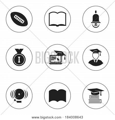 Set Of 9 Editable University Icons. Includes Symbols Such As Oval Ball, Ring, Alarm Bell And More. Can Be Used For Web, Mobile, UI And Infographic Design.