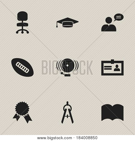Set Of 9 Editable School Icons. Includes Symbols Such As Victory Medallion, Oval Ball, Graduate And More. Can Be Used For Web, Mobile, UI And Infographic Design.