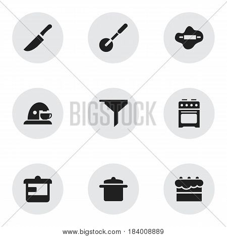 Set Of 9 Editable Cook Icons. Includes Symbols Such As Filtering, Knife Roller, Pastry And More. Can Be Used For Web, Mobile, UI And Infographic Design.