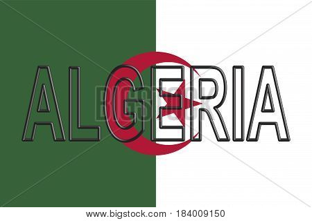 Illustration of the flag of Algeria with the country written on the flag