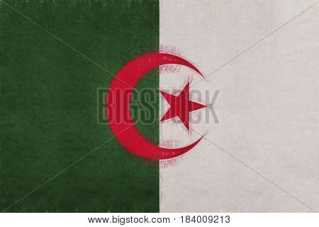 Illustration of the flag of Algeria with a grunge look.