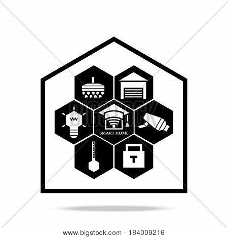Smart home technology icon in house frame. Element for cards, illustration, poster and web design. Stylized roof of square academic cap