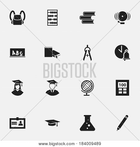 Set Of 16 Editable Education Icons. Includes Symbols Such As Calculator, Bookmark, Graduation Hat And More. Can Be Used For Web, Mobile, UI And Infographic Design.