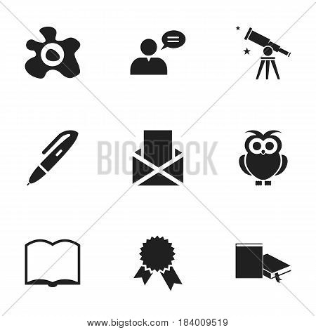 Set Of 9 Editable Education Icons. Includes Symbols Such As Omelette, Thinking Man, Bookmark And More. Can Be Used For Web, Mobile, UI And Infographic Design.