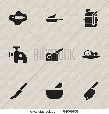 Set Of 9 Editable Food Icons. Includes Symbols Such As Dough, Backsword, Grill And More. Can Be Used For Web, Mobile, UI And Infographic Design.