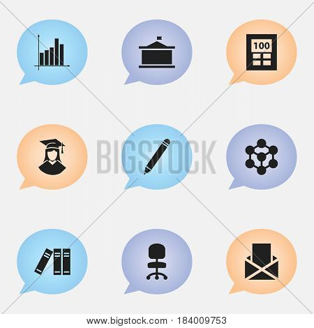 Set Of 9 Editable Science Icons. Includes Symbols Such As Bookshelf, Molecule, Univercity And More. Can Be Used For Web, Mobile, UI And Infographic Design.