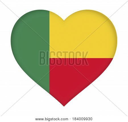 Illustration of the flag of Benin shaped like a heart.