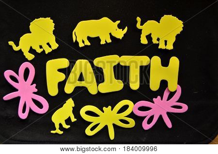 faith word on a  abstract colorful background