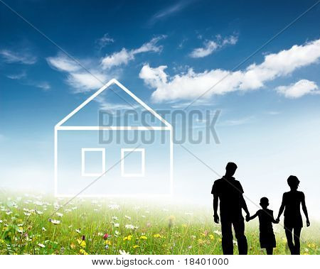 family silhouette and new home concept