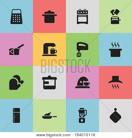 Set Of 16 Editable Cook Icons. Includes Symbols Such As Kitchen Glove, Utensil, Pot-Holder And More. Can Be Used For Web, Mobile, UI And Infographic Design.
