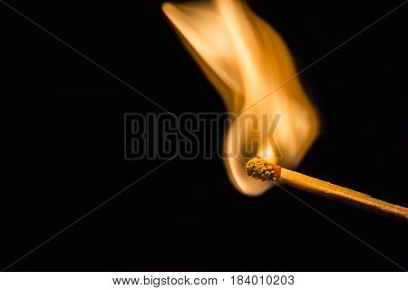 One quiet burning match on black background. Match burning details poster