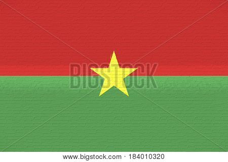Illustration of the national flag of Burkina Faso looking like it has been painted onto a wall.