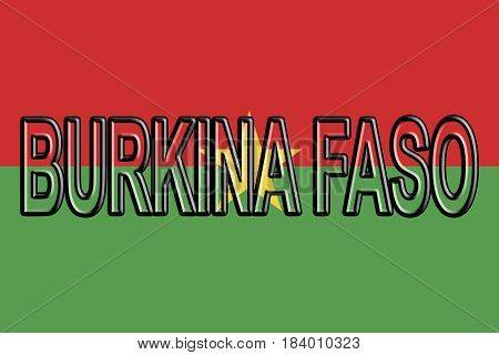Illustration of the flag of Burkina Faso with the country written on the flag.