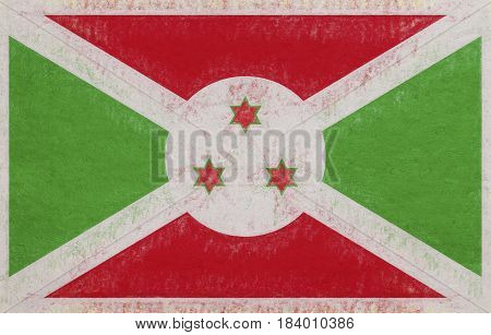 Illustration of the flag of Burundi with a grunge look.